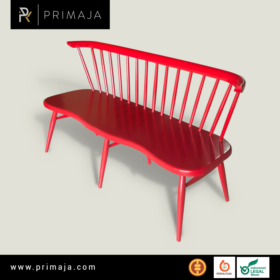 Hot Sale !! Red Chili Windsor Bench For Dining Room - Indonesia Furniture