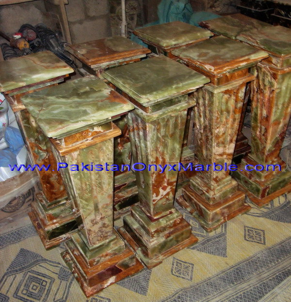 POLISHED MULTI GREEN ONYX PEDESTALS COLLECTIONS