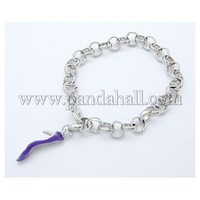 Iron Bracelets, with Brass Lobster Clasp and Alloy Enamel Pendant, Shoes, Platinum Color, Size: about 225mm long BJEW-Q114-N