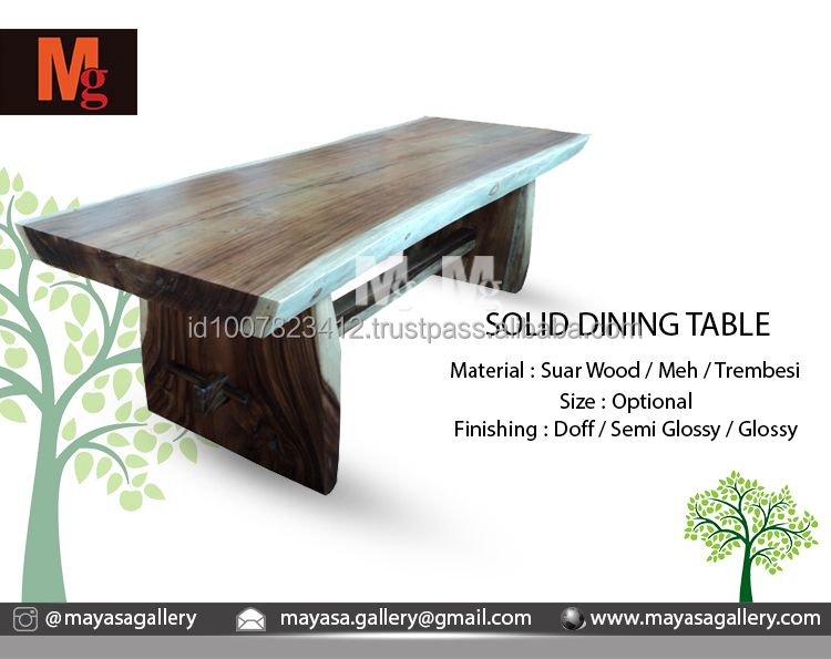 Live Edge Solid Dining Table Unfinished Well Smooth Sanded