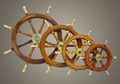 Ship Wheel With Brass Handle Set, Wall Decor Ship Wheel Set, Decorative wooden wheel Set