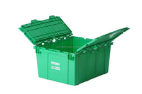 "industrial strength plastic moving, storage box hinged lid Dimensions: 21"" X 15"" X 9"" Volume: 37 litres (1.3 Cubic Feet)"