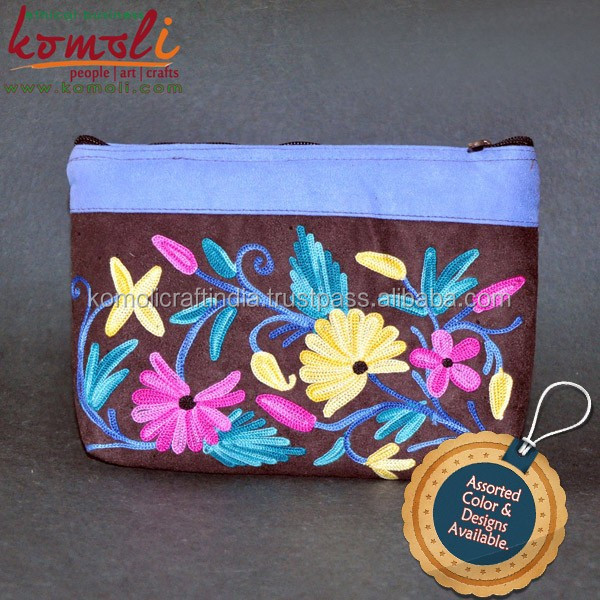 Suede leather utility pouch indian embroidered bags