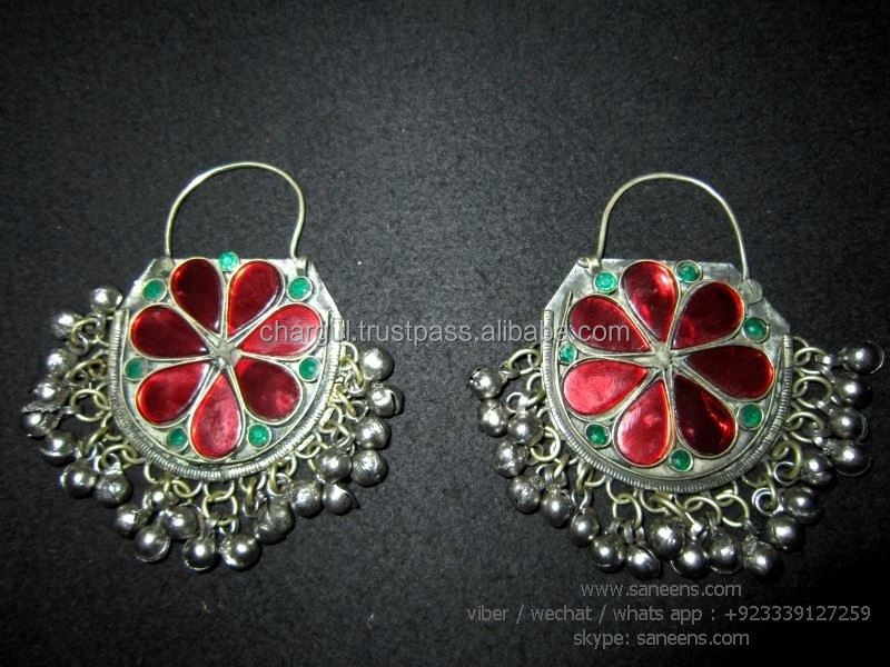 afghan nomad metalcrafts earrings traditional kuchi women ear jewelry for sale online