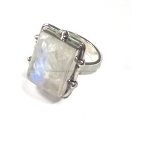 925 Sterling Silver Gemstone Rings Indian Moonstone Rings Stone Ring Designs for Men