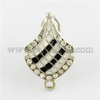 Alloy Enamel Ear Stud Components, with Grade A Rhinestone, Platinum, 25x16x15mm, Hole: 2mm; Pin: 0.6mm