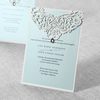[Original BHands Card] White jeweled laser cut wedding invitation card LA824