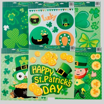 WINDOW CLING JUMBO ST PAT W/ GLITTER 6AST DESIGNS 16.5X14.75 #G86086