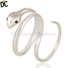 Handcrafted Snake Designer Dobule Finger Rings Amethyst Gemstone Ring Suppliers of Silver Fine Gemstone Jewelry