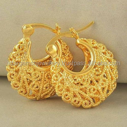 sterling silver 925 natural gold platted royal design hoop earrings