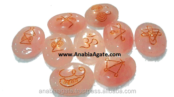 Wholesale Pagan/Wiccan Sets : Rose Quartz Oval 9 piecs Wiccan Set