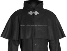 Mens Gothic Long 100% Wool coat with deatachable 5 Hood Steampunk Goth