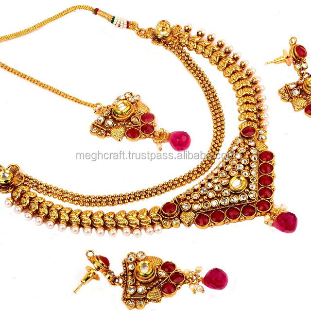 Bollywood Style Fashion wear Gold Plated Necklace Set-New Style Gold Plated jewelry-One Gram Gold Plated Jewellery