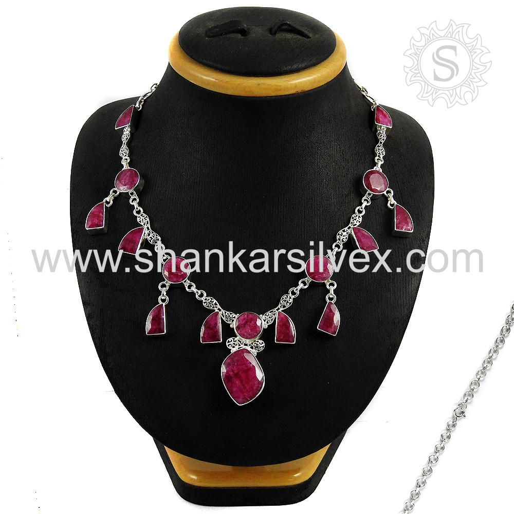 Ruby Jewelry Necklace Natural Gemstone Silver Jewelry 925 Silver Necklace
