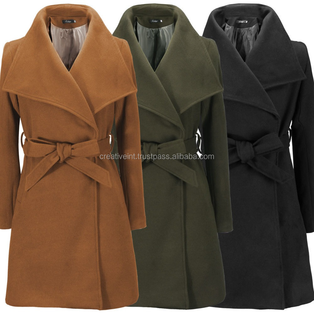 trench coat/2016 hot sale women autumn winter clothes ladies slim wool long coat/winter coat