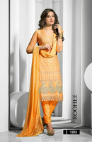 Indian Yellow Pure Chiffon Embroidered Casual Salwar Kameez