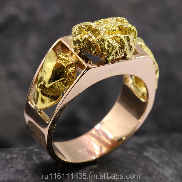Gold ring with natural gold nuggets