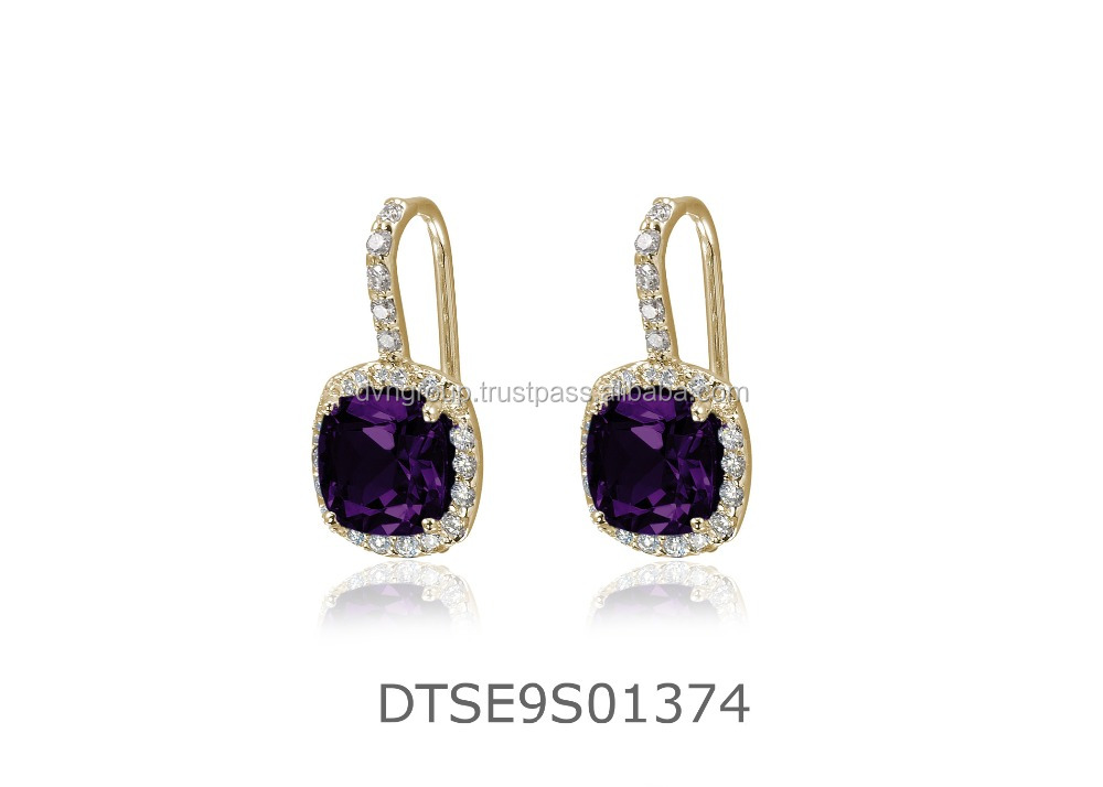 CZ Studded Big Gemstone 14 KT Gold Plated Earrings