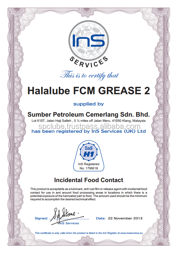Halalube brand FCM Grease 2 - H1 Calcium Sulphonate Grease from Malaysia