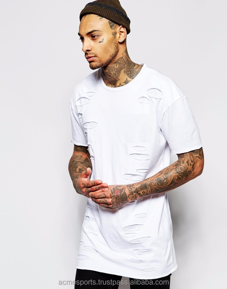 new fashion t shirt All White Thumb hole Distressed Tee/Cotton All White Thumb hole Distressed Tee