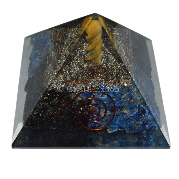 Lapis and Tourmaline Orgone Pyramids with Spiral Point : Wholesale price Orgone Pyramids
