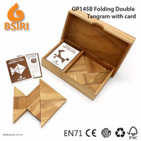 Wooden Tangram Puzzle Kids Toys with Card