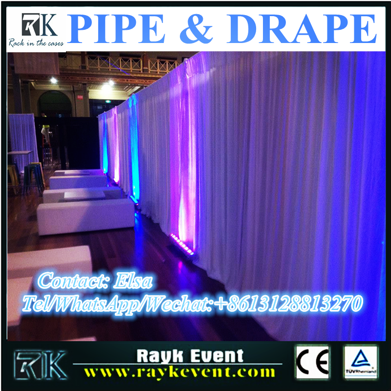 Singapore pipe and drape fabric lycra backdrop design sample pipe and drape for wedding and party