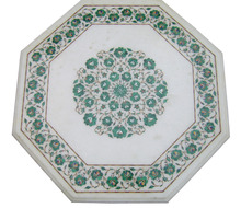 White Marble Malachite Inlaid Coffee Table Top
