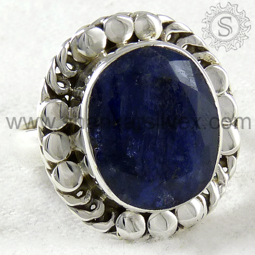 Enthralling Indian Silver Jewelry Sapphire Ring Wholesaler Jewelry 925 Sterling Silver Ring Exporter