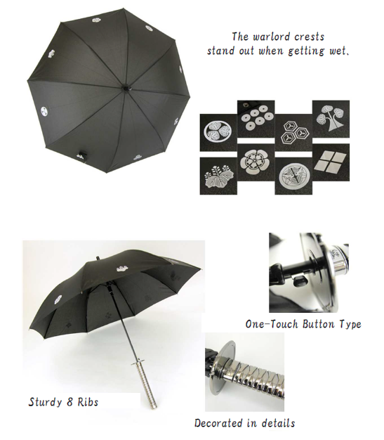 Durable and High quality samurai warrior armour rain umbrella Samurai Umbrella for fun , various design available