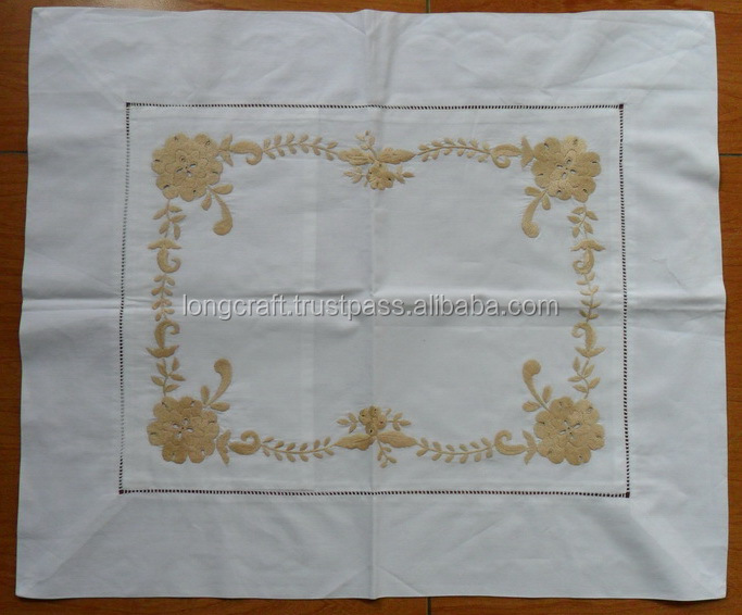 Embroidered cotton pillow case No.12 beige embroidery