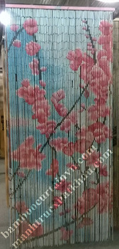 Ready to use natural painted bamboo curtain for door pink flower