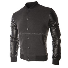 Cotton Fleece Jacket with leather sleeve