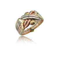 14K Solid Tri Color Gold Turkish 6 Band Puzzle Wedding Ring