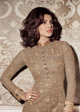 Brown Net Straight Cut Style Suit/Anarkali Style Suits/Boutique Gowns