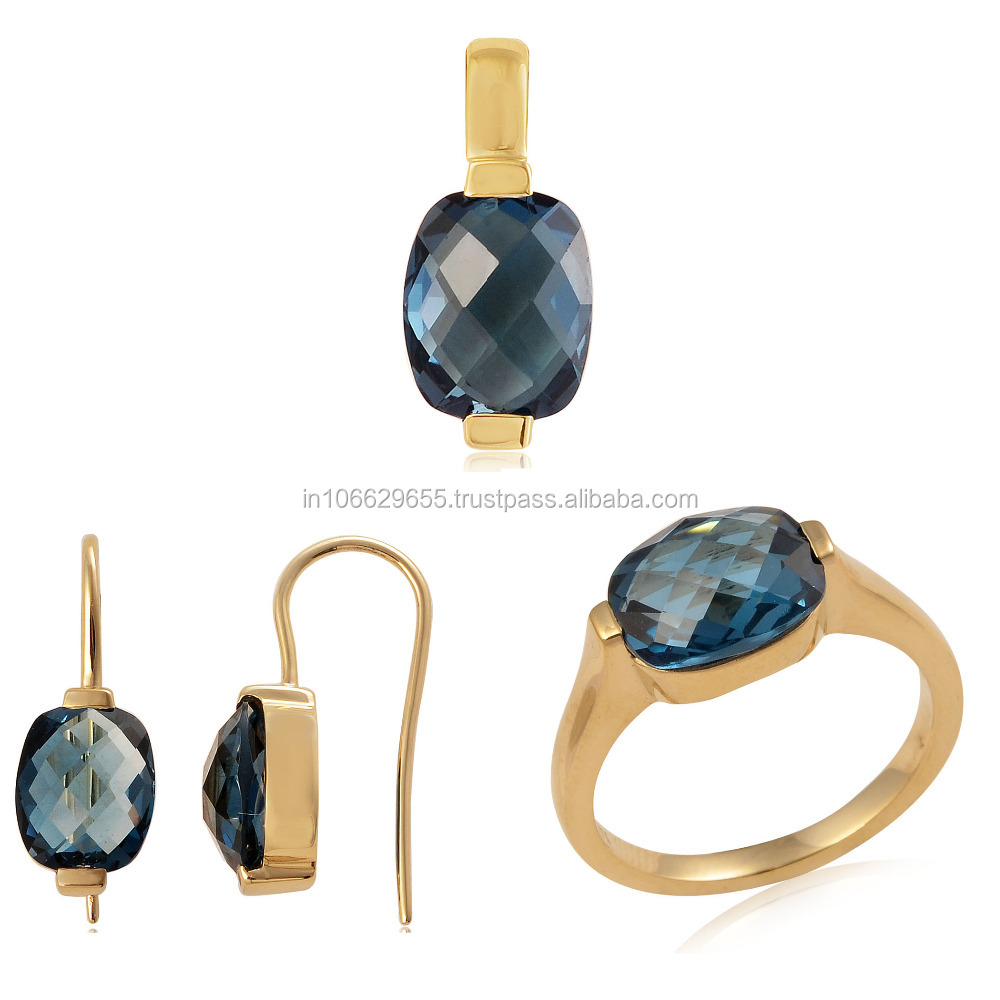 Pendant Earrings Ring Jewelry Set In 14k Gold With London Blue Topaz 14k Gold Jewelry Wholesale