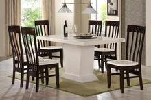 1 + 6 White marble / crystal dining room table & Milano Chair with marble seat