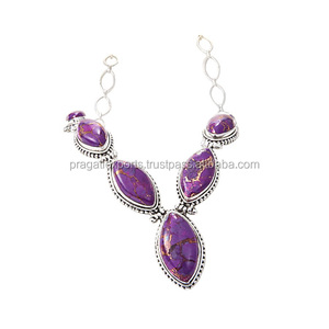 Handcrafted Purple Copper Turquoise 925 Sterling Silver Necklace