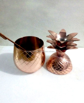 COPPER PINEAPPLE DRINKING BOWL FOR MOSCOW MULE, VODKA, GINGER, COPPER PINEAPPLE POT, SOLID COPPER PINEAPPLE DRINKING VESSEL