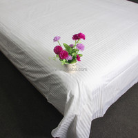WEISDIN new products made in China polyester cotton white plain dyed 1cm stripe bedsheet set low price