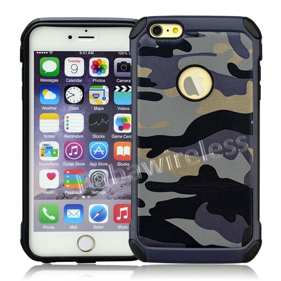 Hybrid Armor Hard Shell Kickstand Holster Belt Clip Military Design Combo Case For iPhone 6 Plus