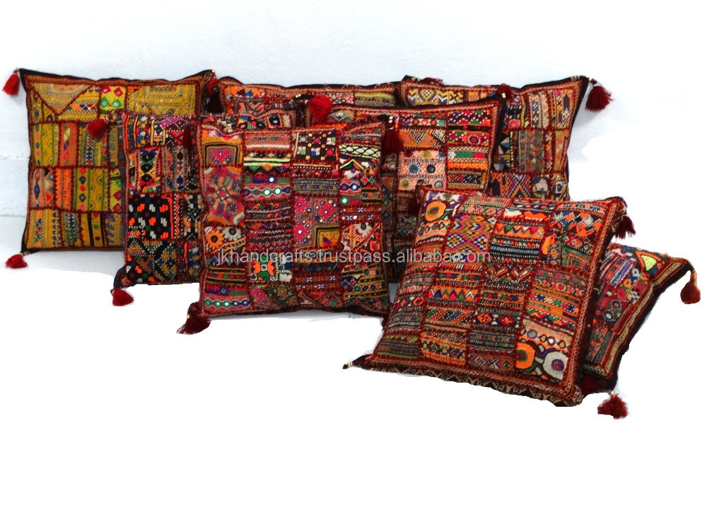 vintage embroidered patchwork pillow covers sari patch cushion