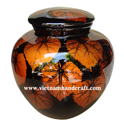 vietnamese bamboo lacquerware cremation urns with handpainted gold leaves