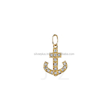 18k Yellow Gold Pave Diamond Charm Anchor Pendant Wholesale Suppier of Yellow Gold Diamond Charms