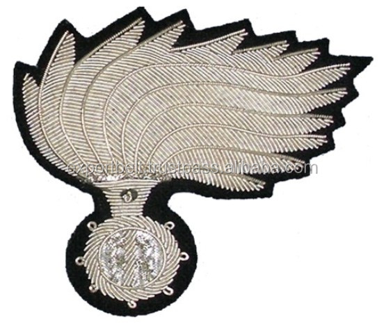 Italian Military Hand Embroidery Cap Badge, patch, crest in gold and silver bullion wire, uniform badge