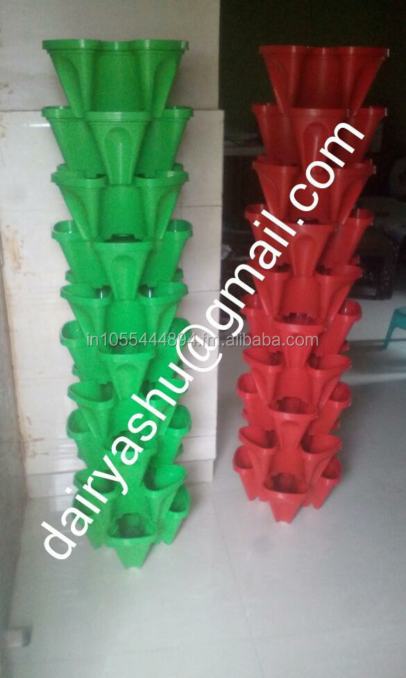 Tower garden stackable pot for hydroponics