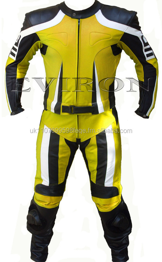 Black Yellow 2Piece Motorcycle Leather Suit