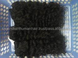 Double Tangle Free virgin Remy Indian deep Curly hair weft Machine Human hair