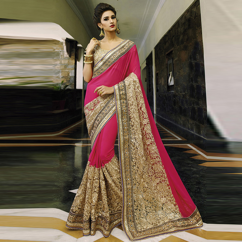 Surat tex Pink & Cream Colored Georgette(60 Gram) & Naylon Net Embroidered Saree With Blouse Pice- BS1527.
