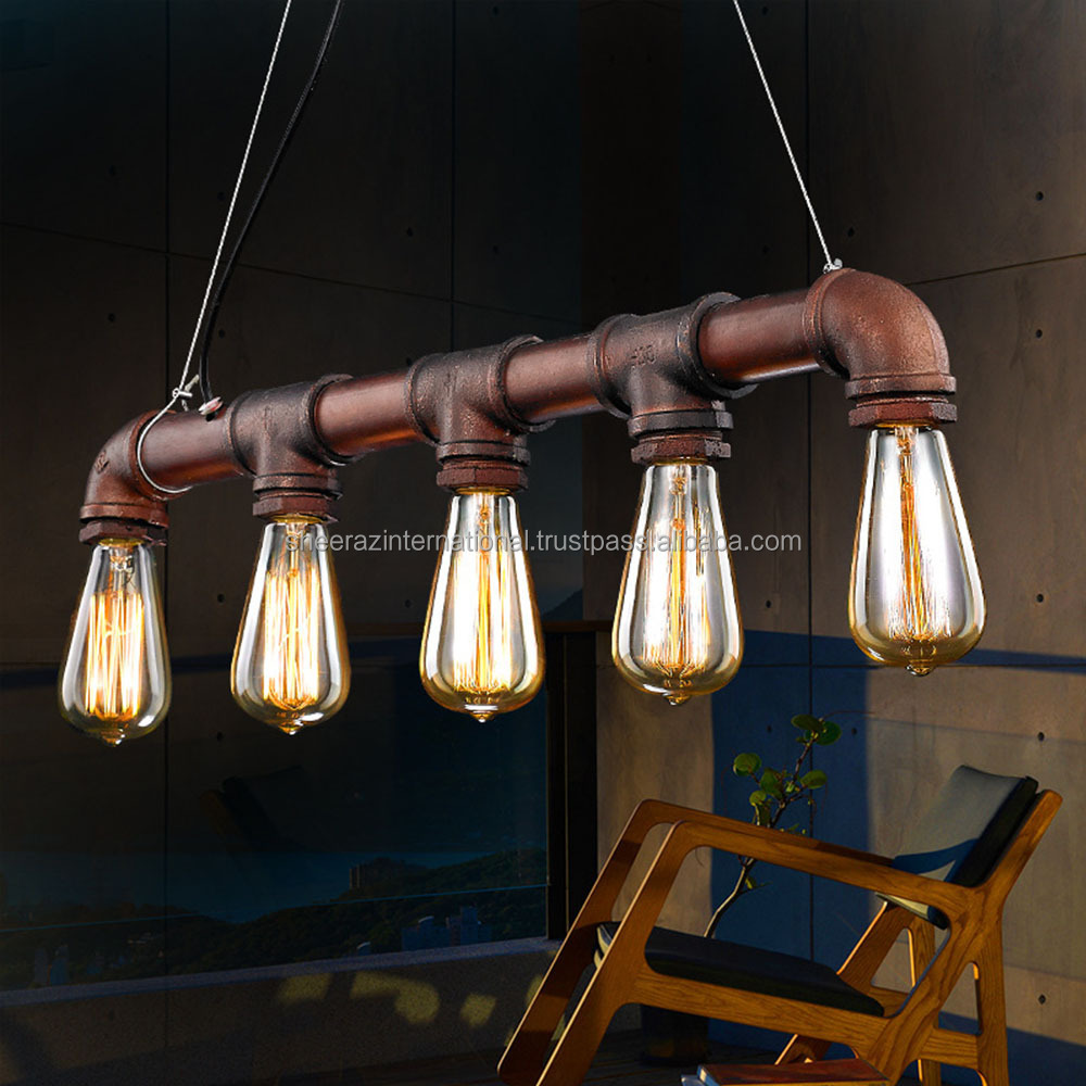 Retro-Industrial-Edison-Bulbs-5-Heads-Pendant-Light-Iron-Water-Pipe-Copper-Color-Dining-Room-Bedside,LED lamp